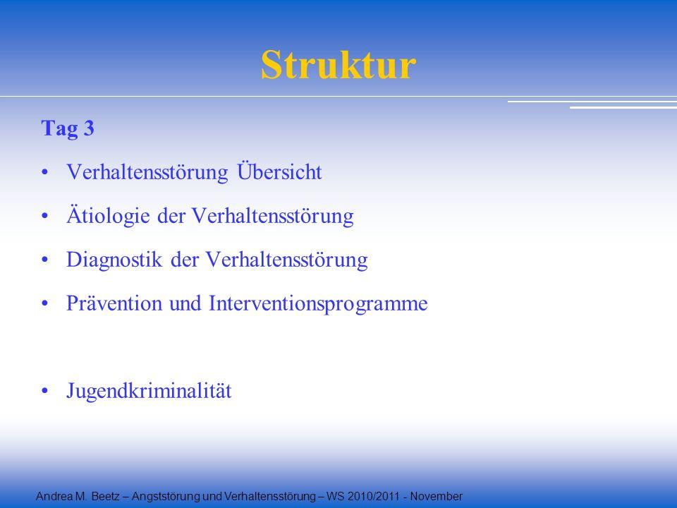 Struktur Tag 3 Verhaltensstörung Übersicht
