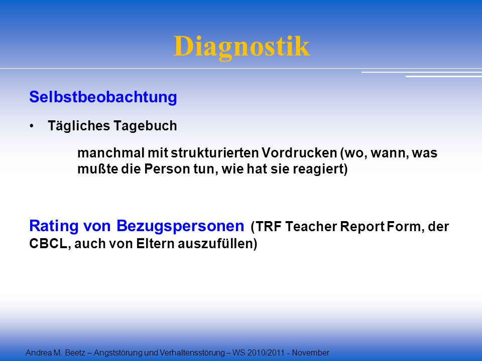 Diagnostik Selbstbeobachtung