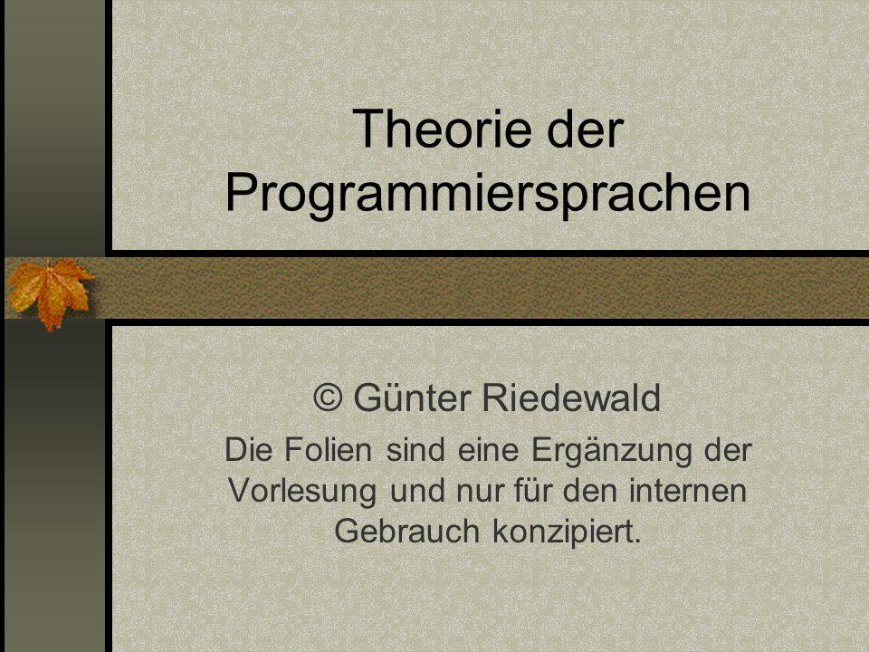 Theorie der Programmiersprachen