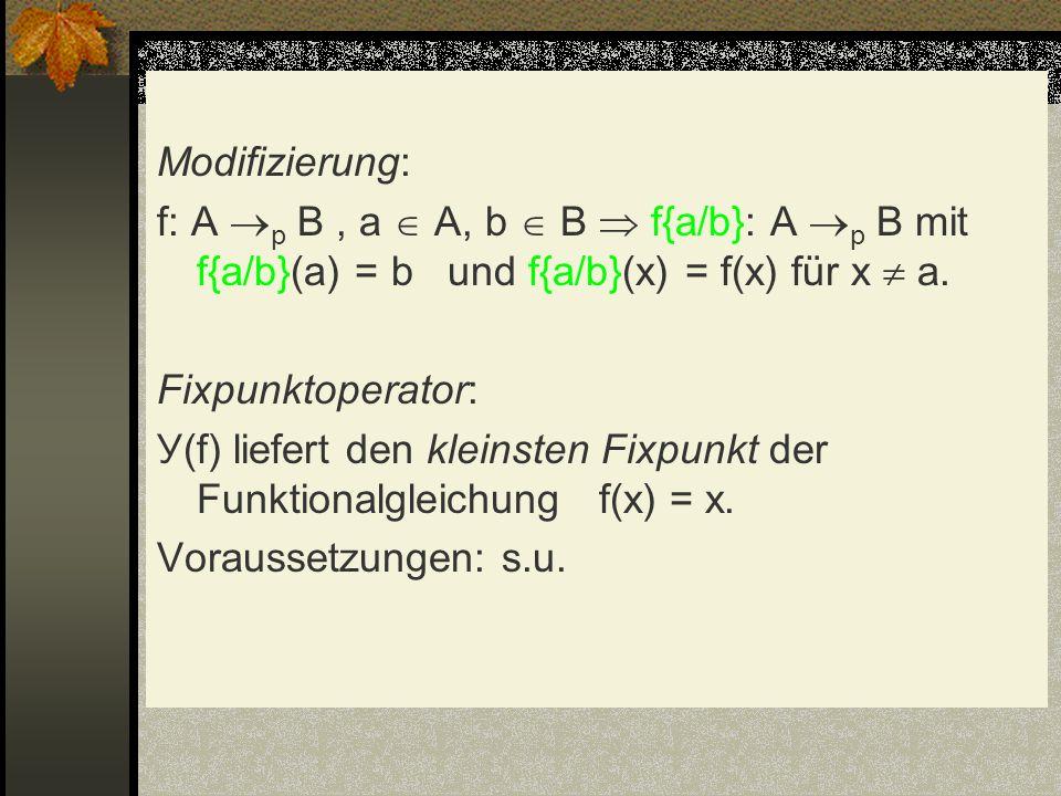 Modifizierung: f: A p B , a  A, b  B  f{a/b}: A p B mit f{a/b}(a) = b und f{a/b}(x) = f(x) für x  a.