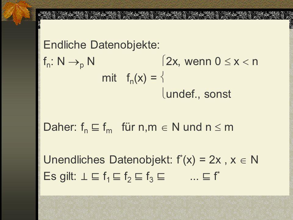 Endliche Datenobjekte: fn: N p N 2x, wenn 0  x  n mit fn(x) =  undef., sonst Daher: fn ⊑ fm für n,m  N und n  m Unendliches Datenobjekt: f*(x) = 2x , x  N Es gilt: ⊥ ⊑ f1 ⊑ f2 ⊑ f3 ⊑ ...