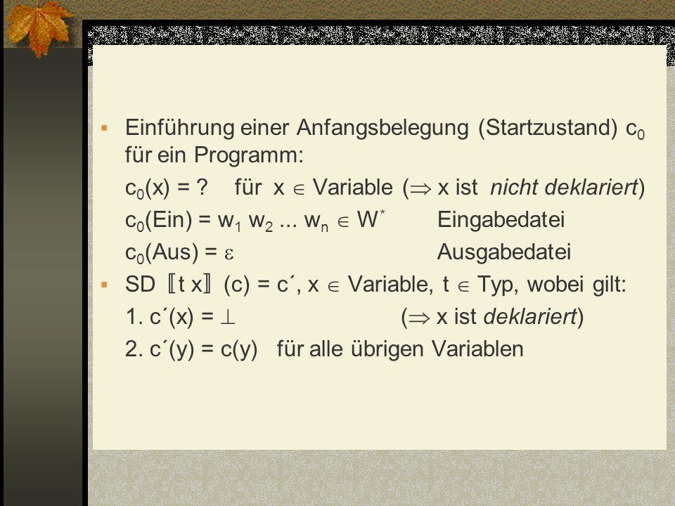 Einführung einer Anfangsbelegung (Startzustand) c0 für ein Programm: