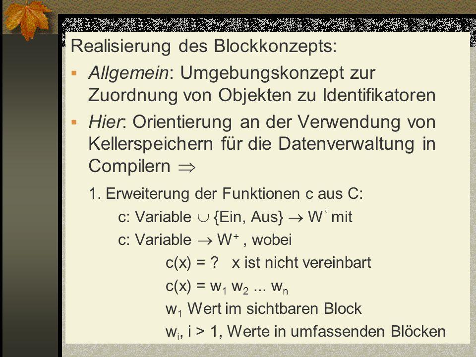 Realisierung des Blockkonzepts: