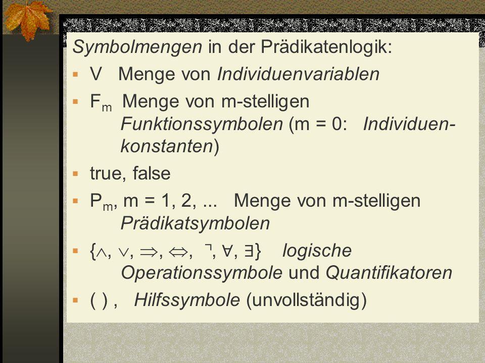 Symbolmengen in der Prädikatenlogik: