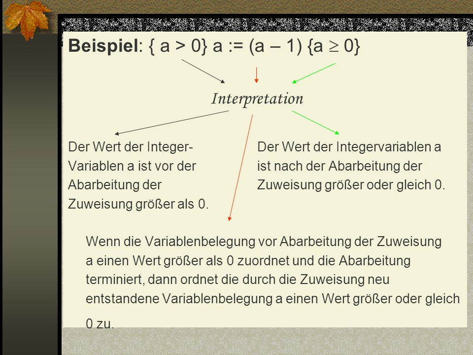 Beispiel: { a > 0} a := (a – 1) {a  0} Interpretation