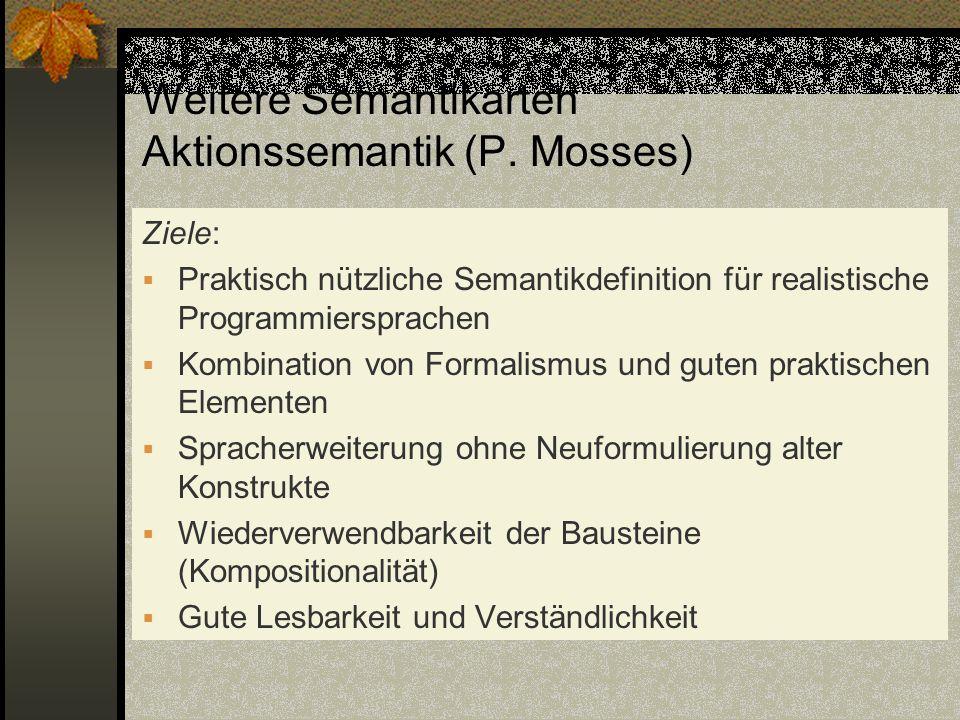 Weitere Semantikarten Aktionssemantik (P. Mosses)