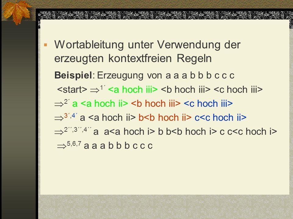Wortableitung unter Verwendung der erzeugten kontextfreien Regeln
