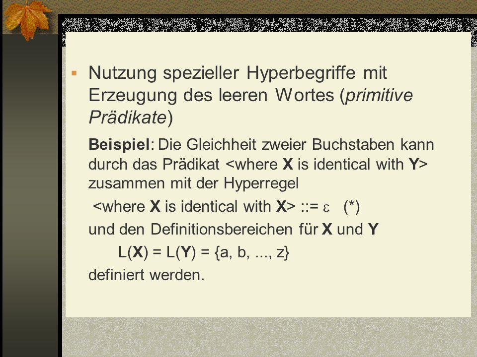 Nutzung spezieller Hyperbegriffe mit Erzeugung des leeren Wortes (primitive Prädikate)