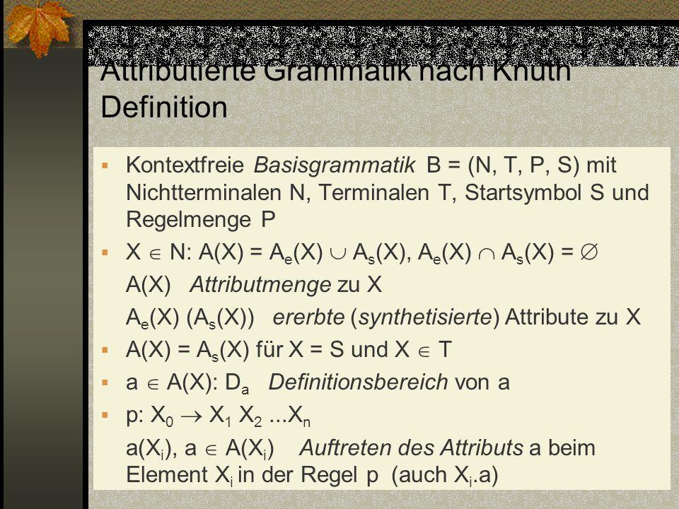 Attributierte Grammatik nach Knuth Definition