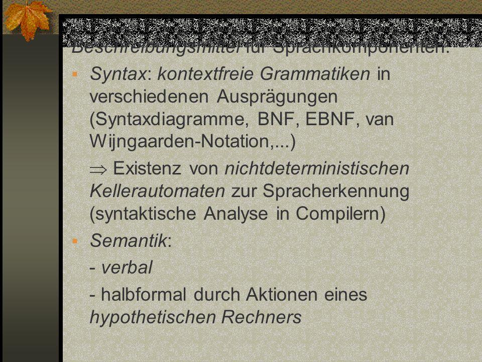 Beschreibungsmittel für Sprachkomponenten: