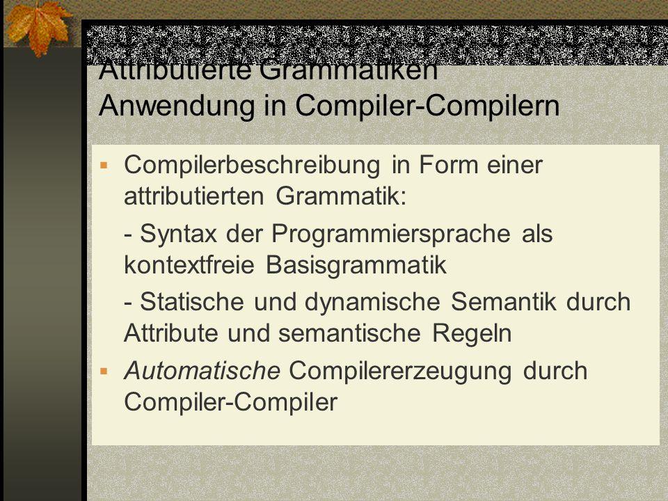 Attributierte Grammatiken Anwendung in Compiler-Compilern