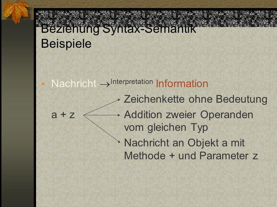 Beziehung Syntax-Semantik Beispiele