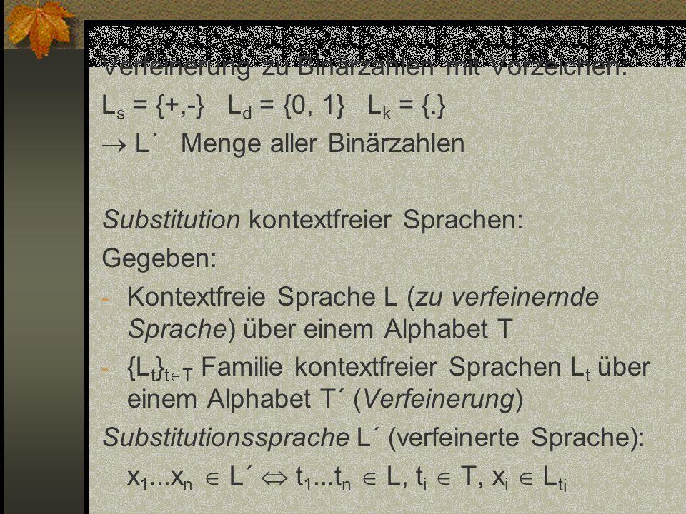 Verfeinerung zu Binärzahlen mit Vorzeichen: