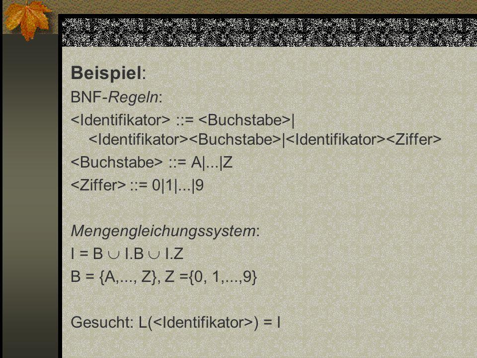 Beispiel: BNF-Regeln: