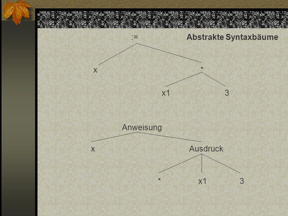 := Abstrakte Syntaxbäume x * x1 3 Anweisung x Ausdruck * x1 3