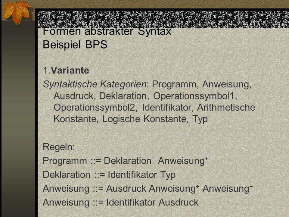 Formen abstrakter Syntax Beispiel BPS