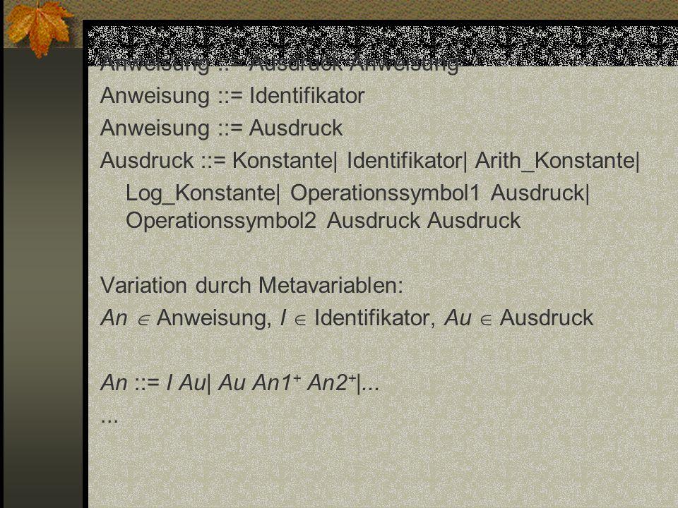 Anweisung ::= Ausdruck Anweisung+ Anweisung ::= Identifikator Anweisung ::= Ausdruck Ausdruck ::= Konstante| Identifikator| Arith_Konstante| Log_Konstante| Operationssymbol1 Ausdruck| Operationssymbol2 Ausdruck Ausdruck Variation durch Metavariablen: An  Anweisung, I  Identifikator, Au  Ausdruck An ::= I Au| Au An1+ An2+|...