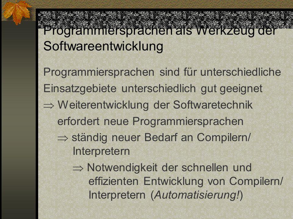 Programmiersprachen als Werkzeug der Softwareentwicklung