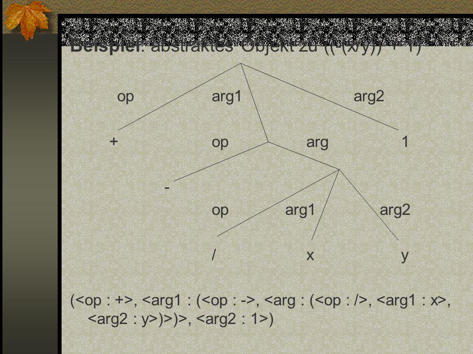 Beispiel: abstraktes Objekt zu ((-(x/y)) + 1)