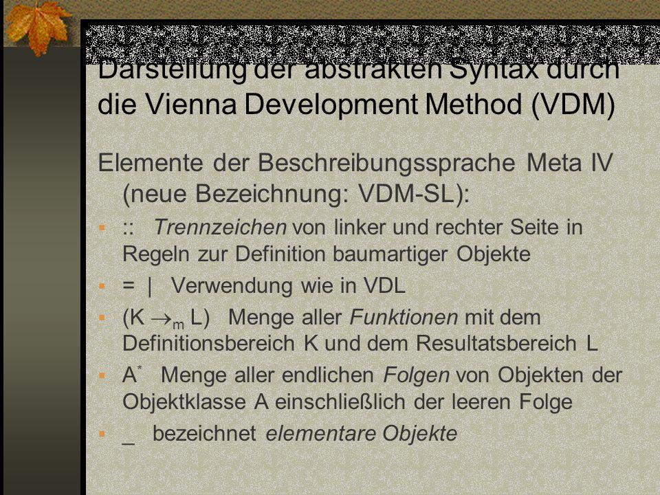 Darstellung der abstrakten Syntax durch die Vienna Development Method (VDM)