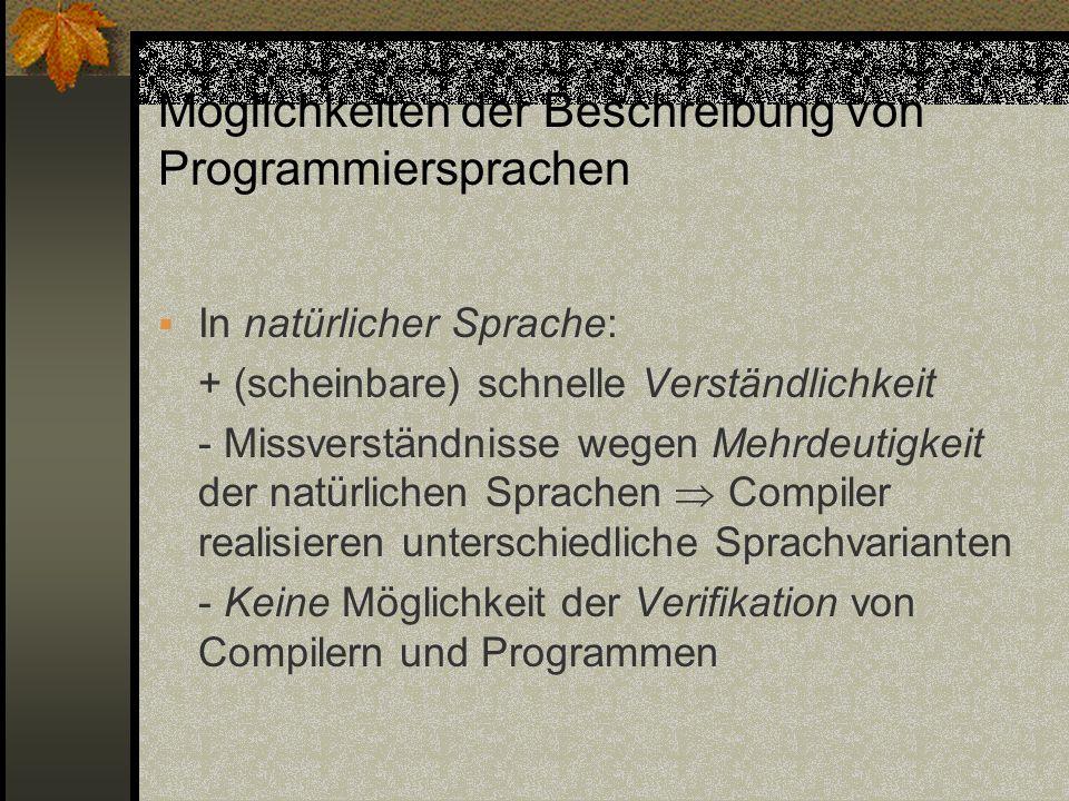 Möglichkeiten der Beschreibung von Programmiersprachen