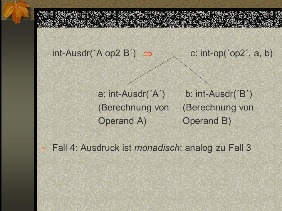 int-Ausdr(´A op2 B´)  c: int-op(´op2´, a, b)