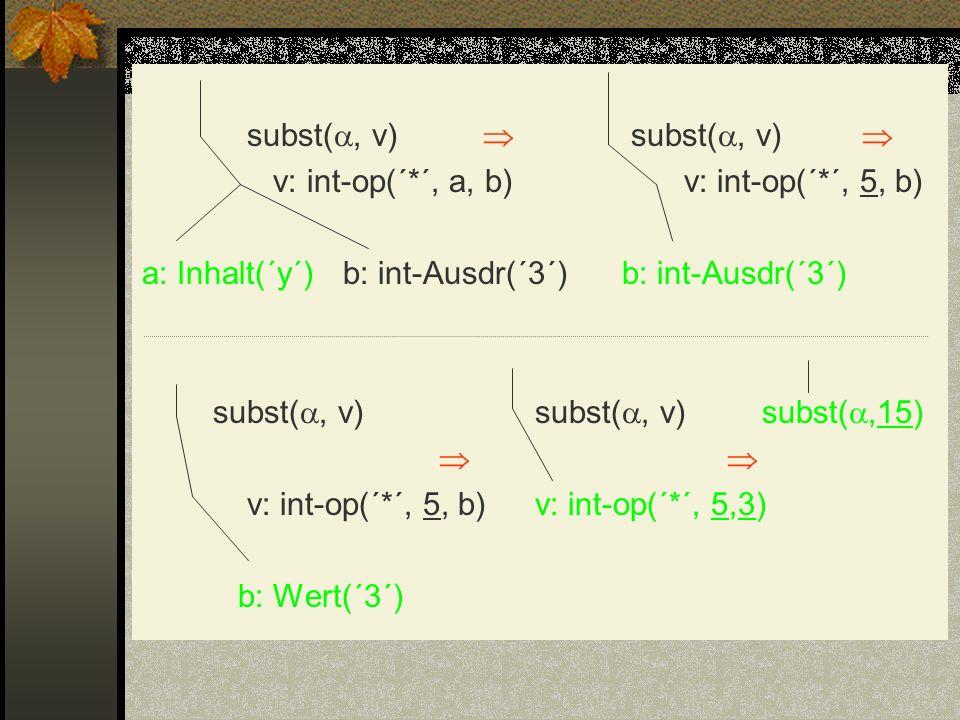 subst(, v)  subst(, v)  v: int-op(´. ´, a, b) v: int-op(´