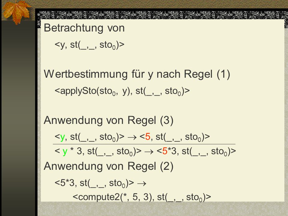 Wertbestimmung für y nach Regel (1)