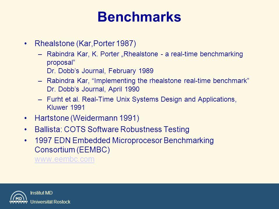 Benchmarks Rhealstone (Kar,Porter 1987) Hartstone (Weidermann 1991)