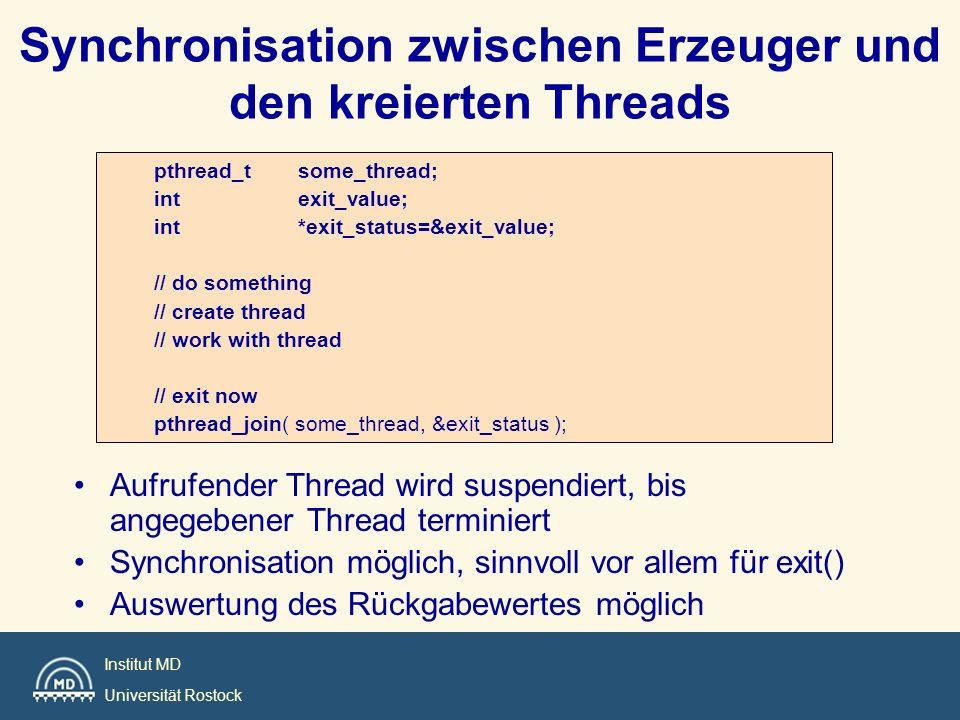 Synchronisation zwischen Erzeuger und den kreierten Threads