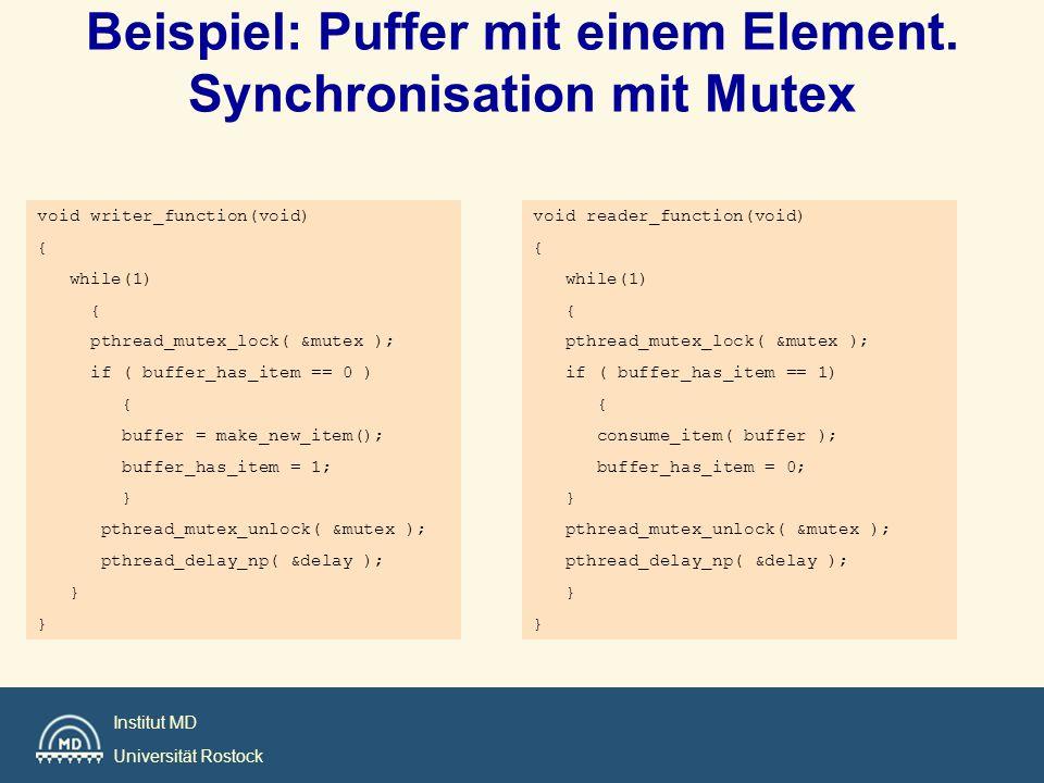 Beispiel: Puffer mit einem Element. Synchronisation mit Mutex