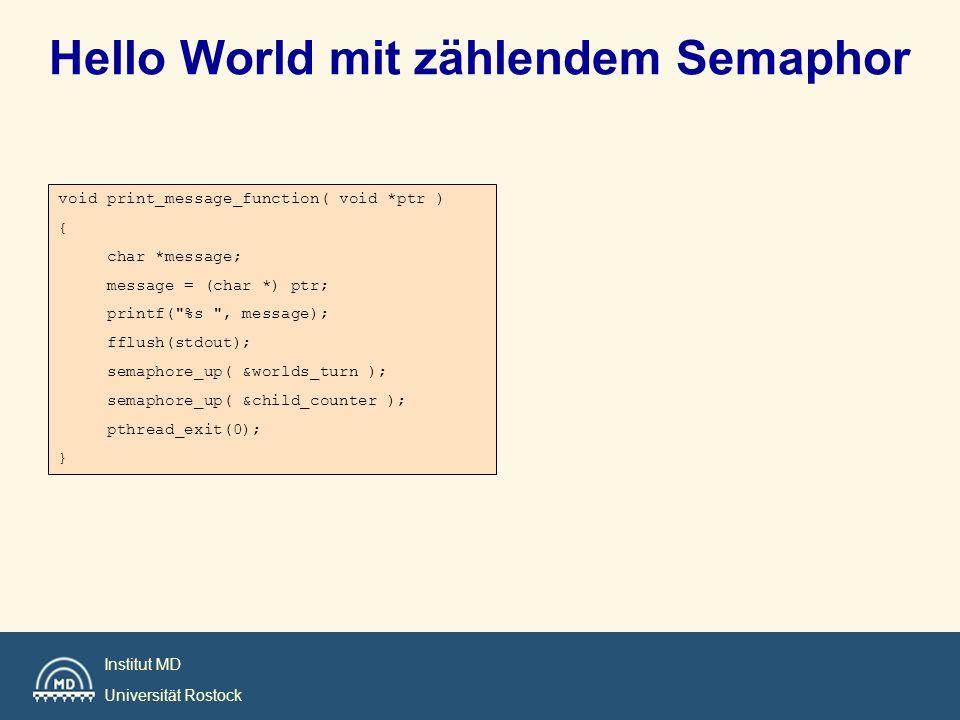Hello World mit zählendem Semaphor