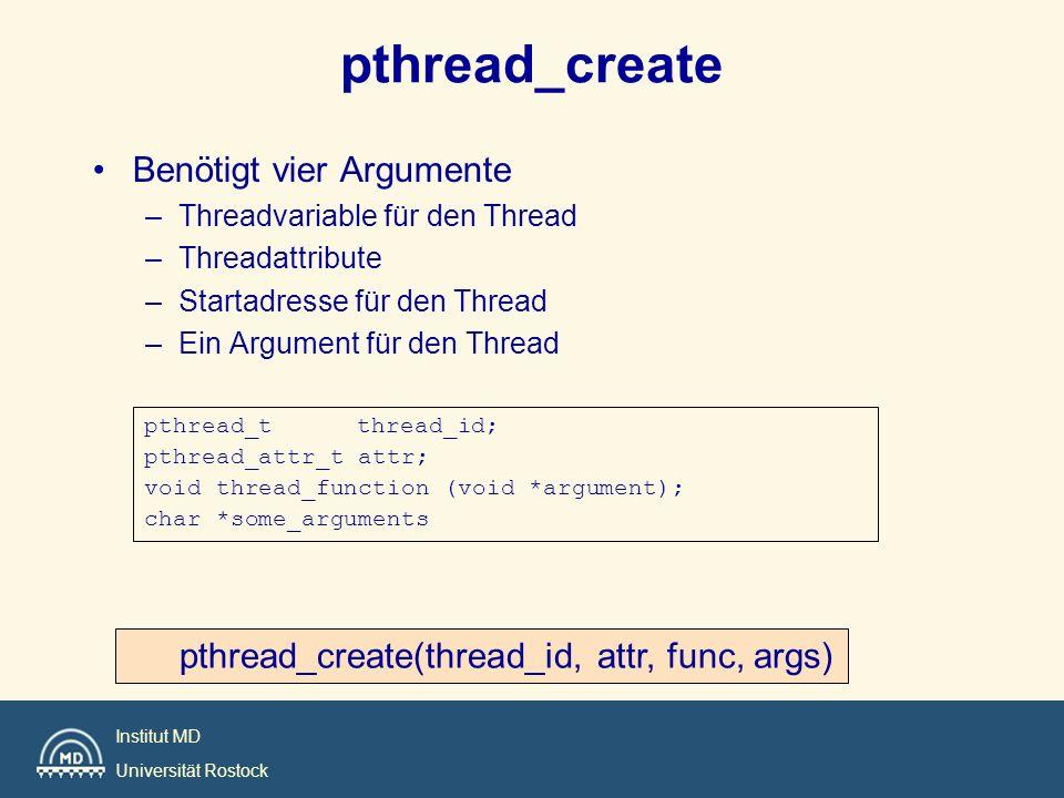 pthread_create Benötigt vier Argumente