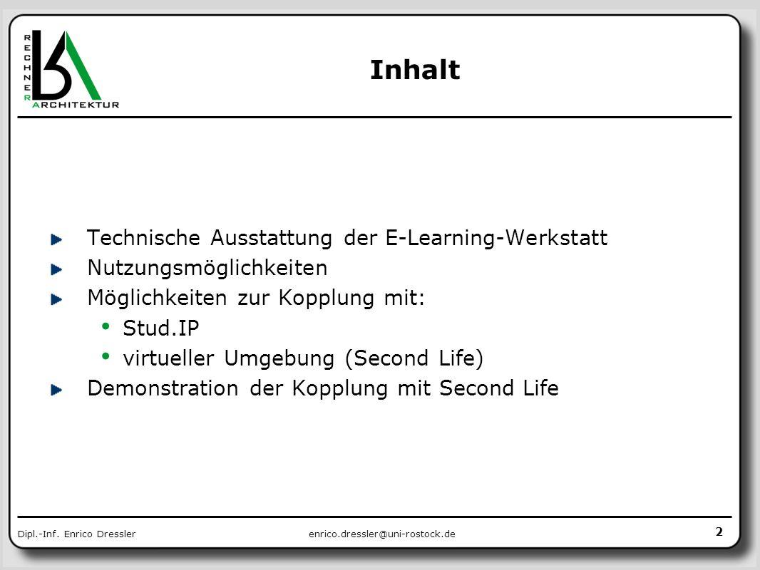 Inhalt Technische Ausstattung der E-Learning-Werkstatt
