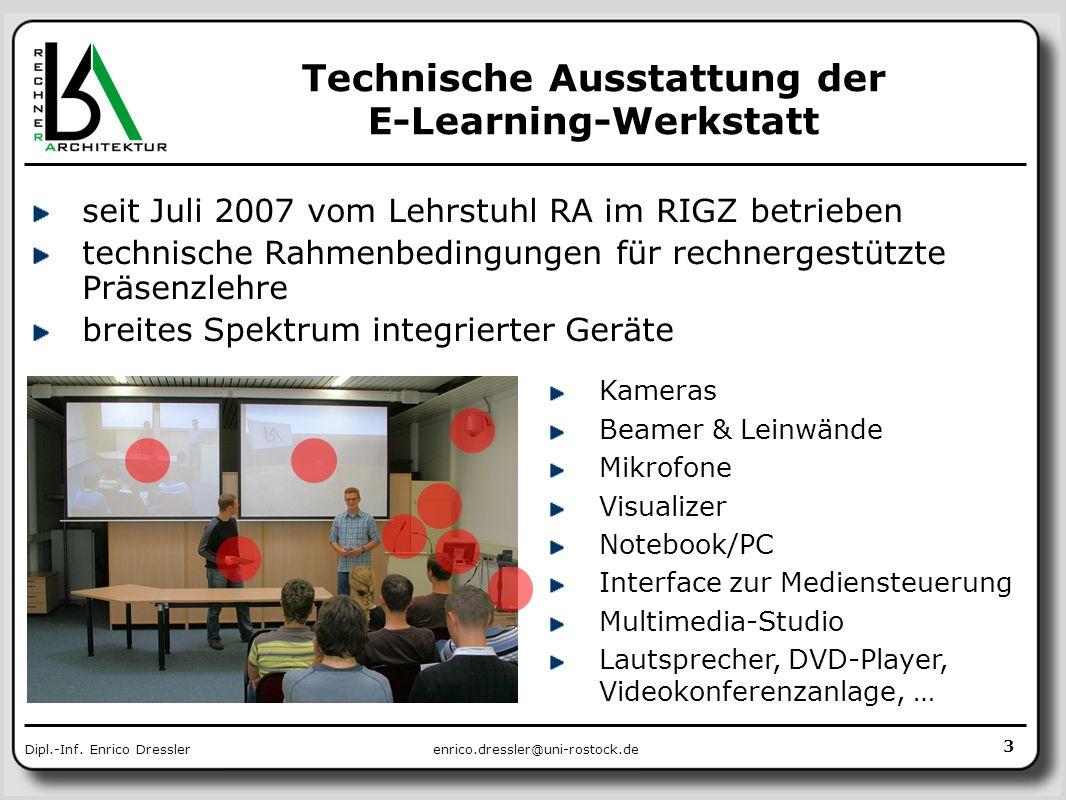 Technische Ausstattung der E-Learning-Werkstatt