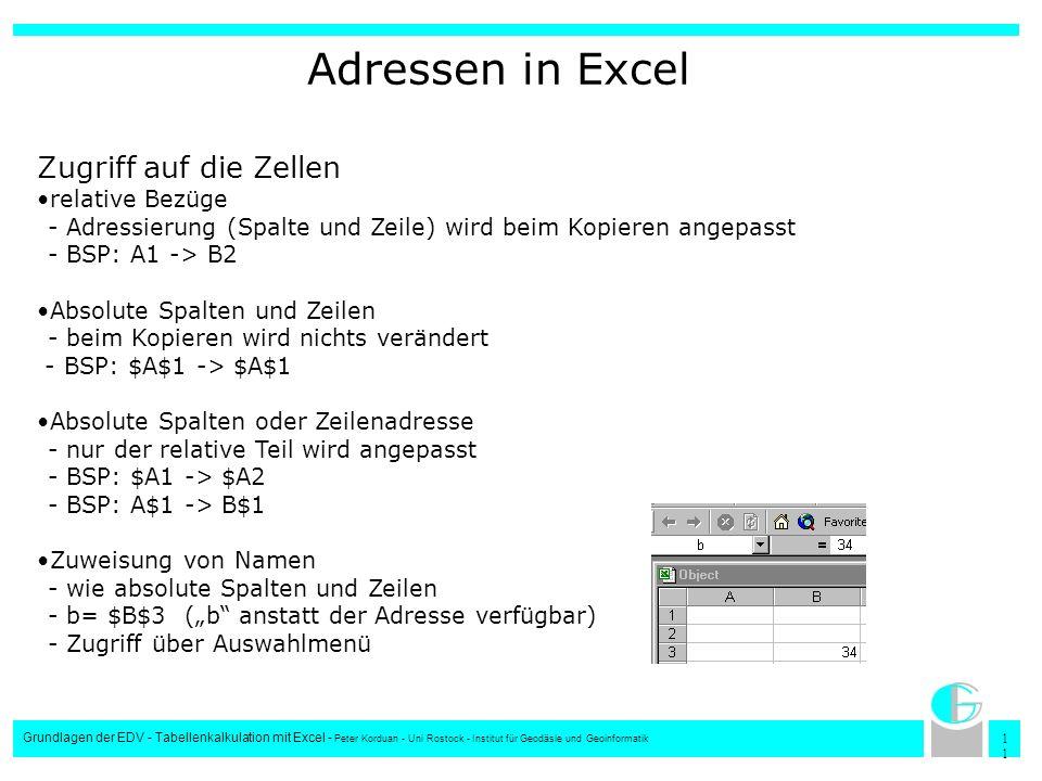 Adressen in Excel Zugriff auf die Zellen