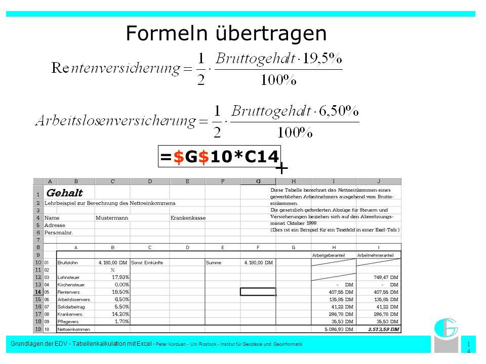 Formeln übertragen =$G$10*C14