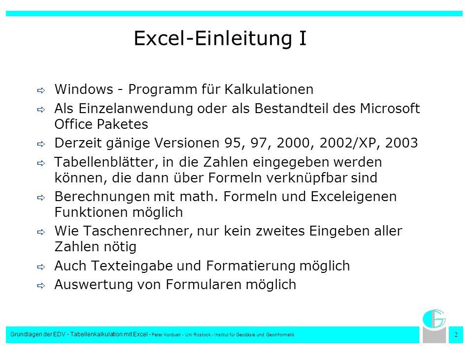 Excel-Einleitung I Windows - Programm für Kalkulationen