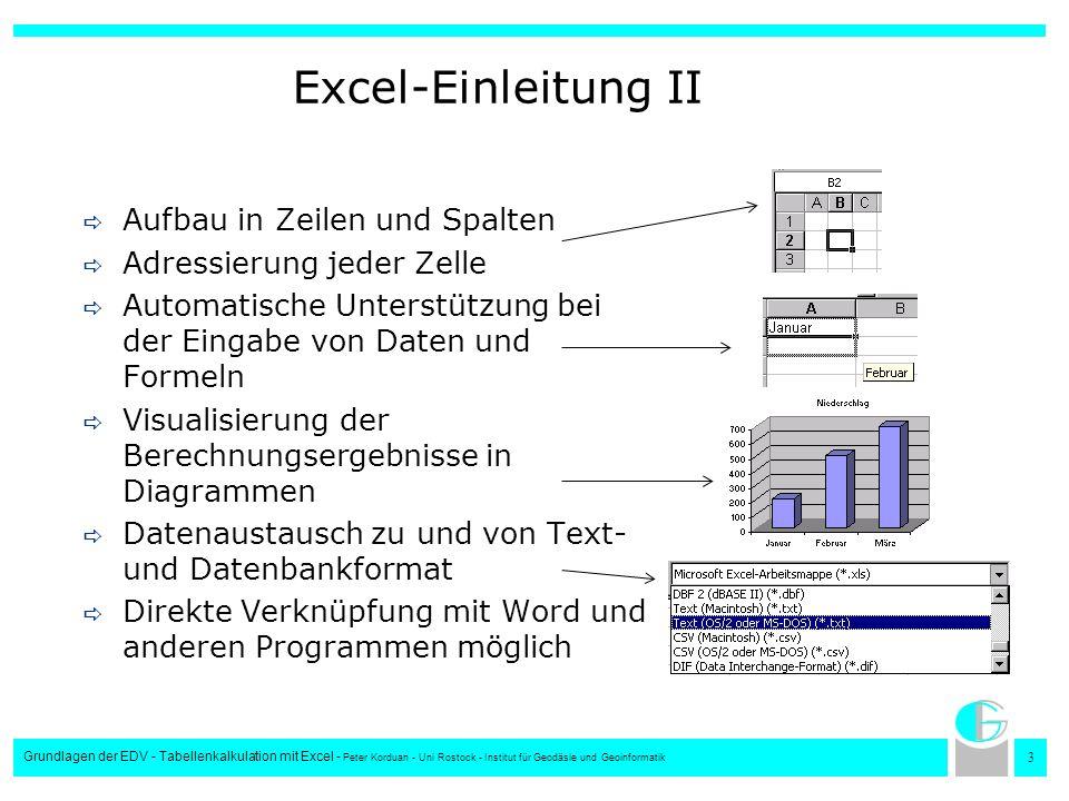Excel-Einleitung II Aufbau in Zeilen und Spalten