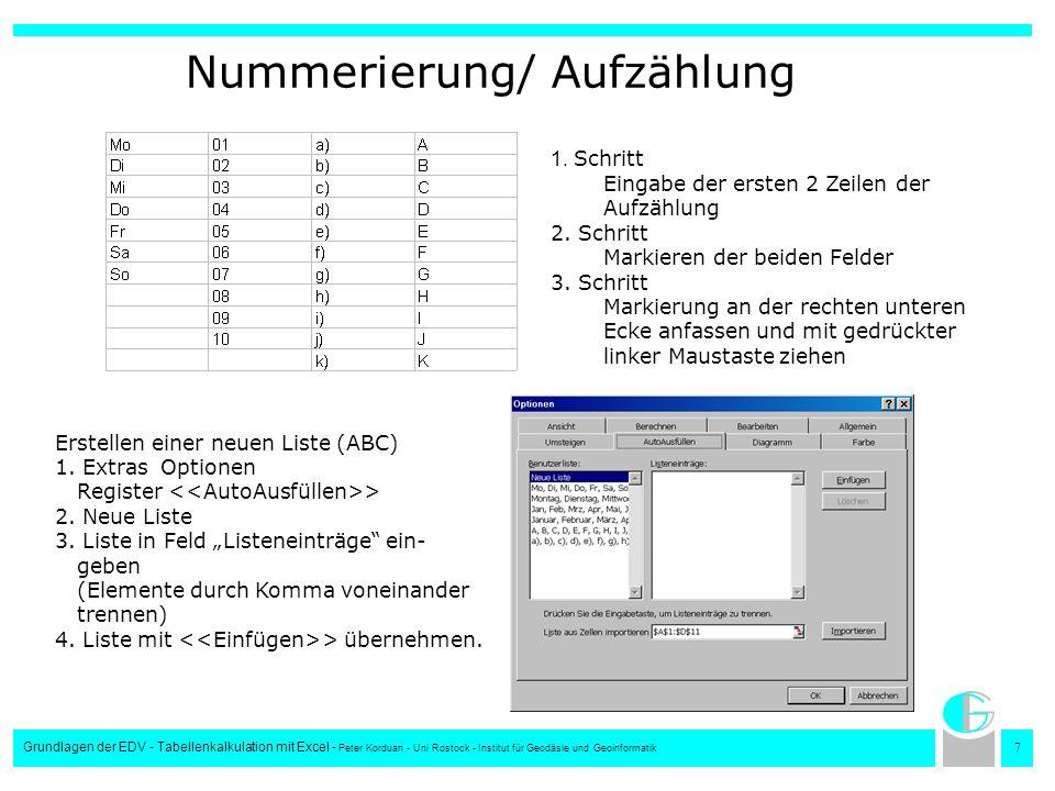 Nummerierung/ Aufzählung