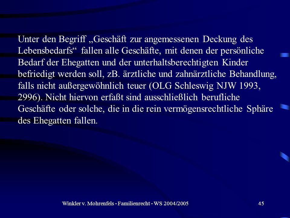 Winkler v. Mohrenfels - Familienrecht - WS 2004/2005