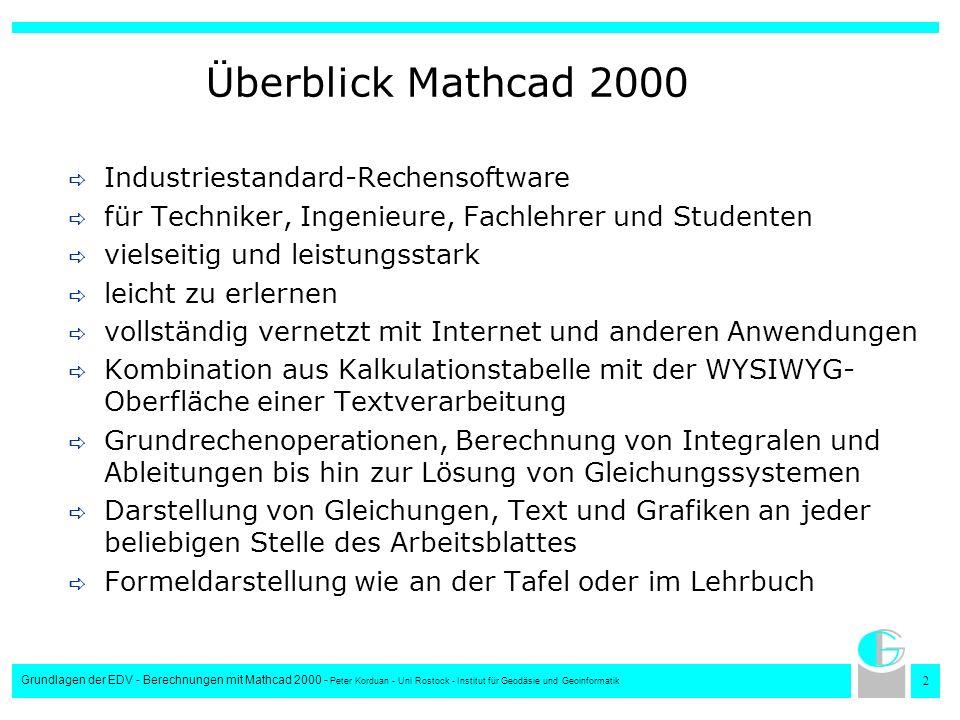 Überblick Mathcad 2000 Industriestandard-Rechensoftware