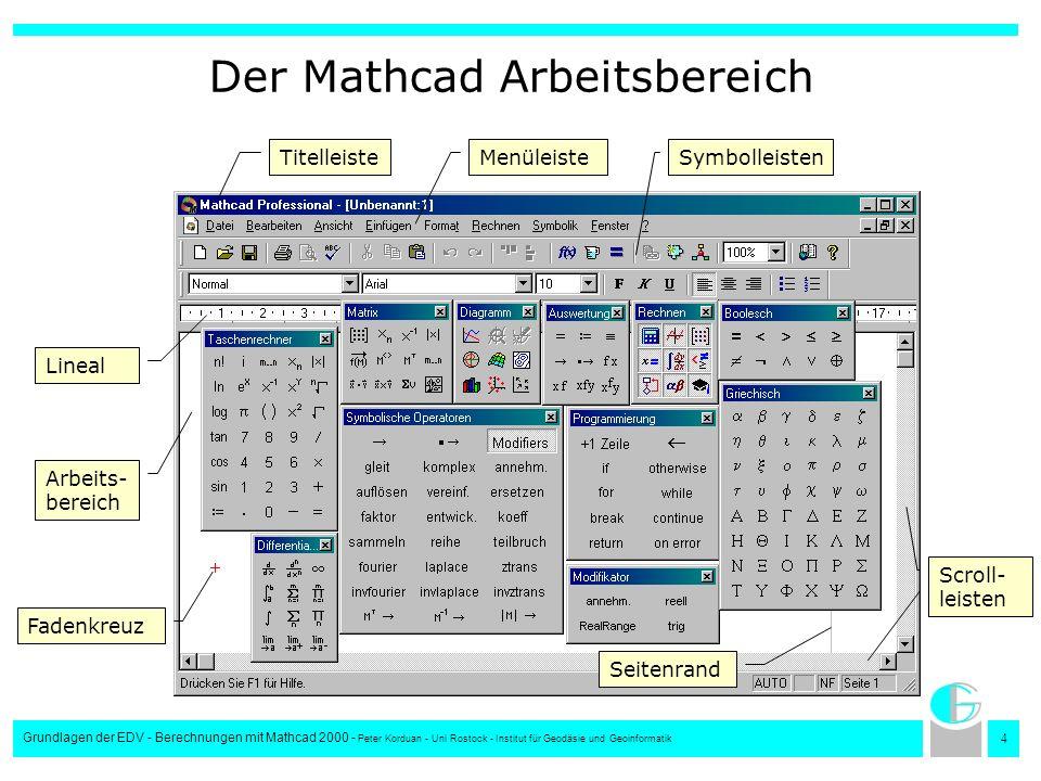 Der Mathcad Arbeitsbereich