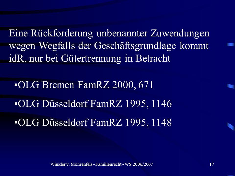 Winkler v. Mohrenfels - Familienrecht - WS 2006/2007