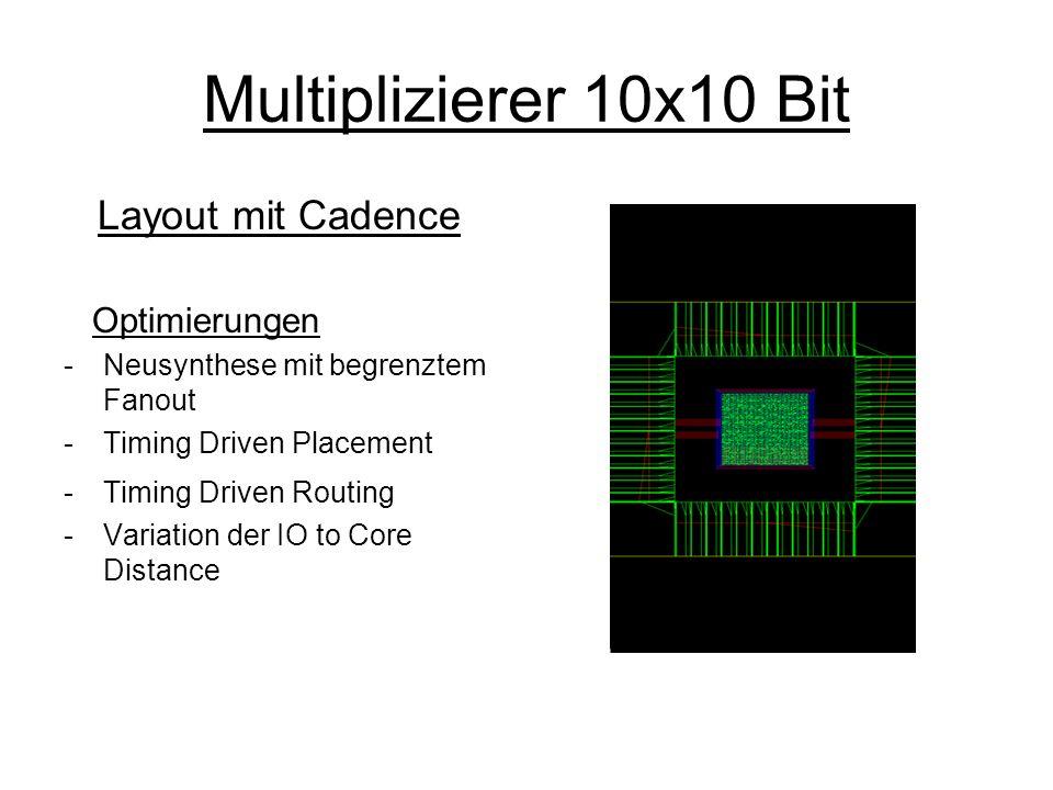 Multiplizierer 10x10 Bit Layout mit Cadence Optimierungen