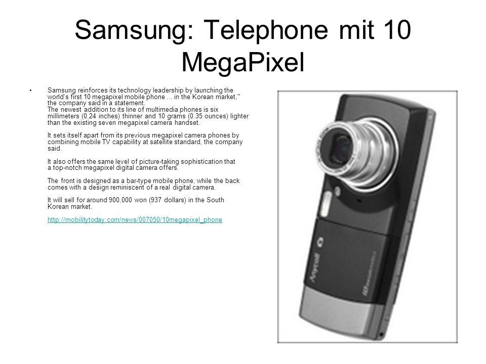 Samsung: Telephone mit 10 MegaPixel