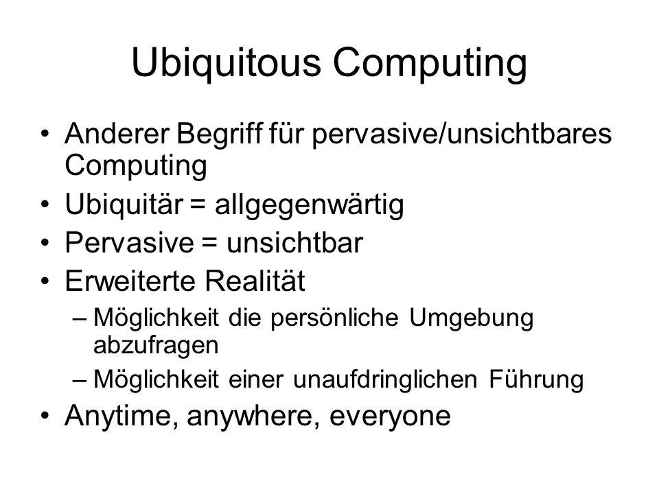 Ubiquitous Computing Anderer Begriff für pervasive/unsichtbares Computing. Ubiquitär = allgegenwärtig.