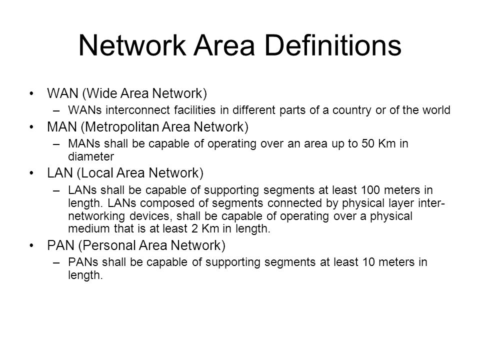 Network Area Definitions