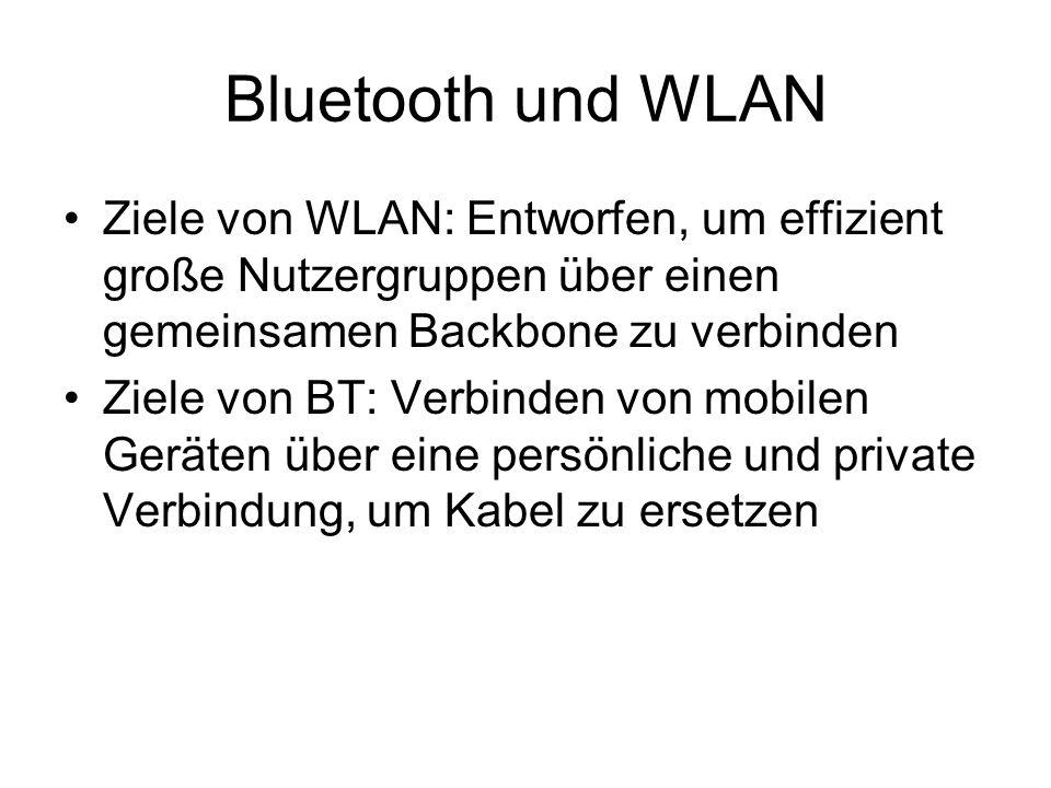 Bluetooth und WLAN Ziele von WLAN: Entworfen, um effizient große Nutzergruppen über einen gemeinsamen Backbone zu verbinden.