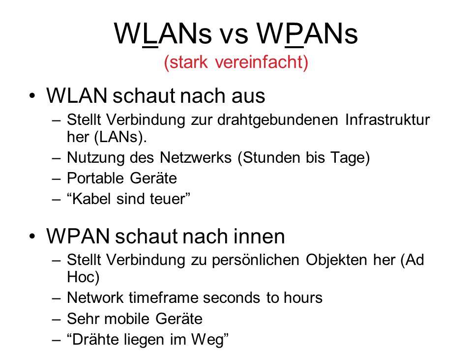 WLANs vs WPANs (stark vereinfacht)